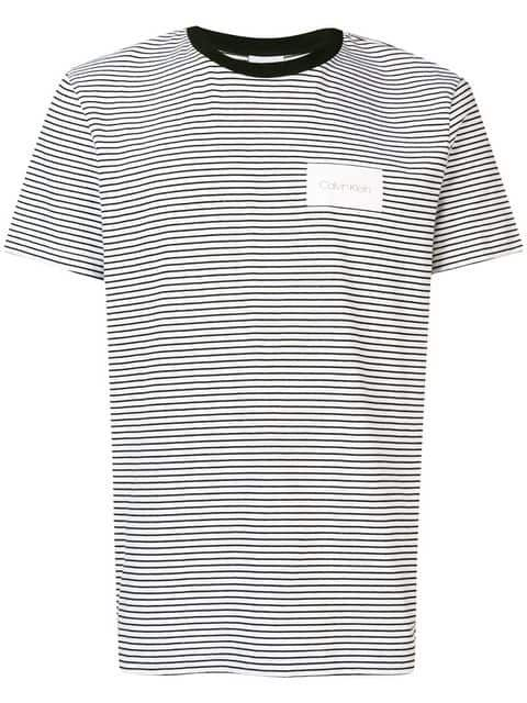 687a907835 Calvin Klein Striped Logo Patch T-shirt in 2019 | Gloverall Tees ...