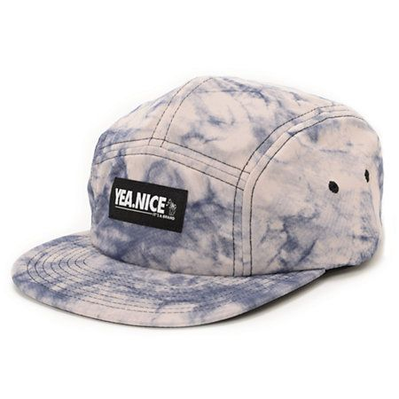Only a true style guru can rock the vintage style Yea.Nice Acid Blue 5 panel hat. Make your buddies jealous with the acid wash blue colorway, black Yea.Nice logo patch at the front, black embroidered eyelets at the sides, adjustable plastic clip sizing pi
