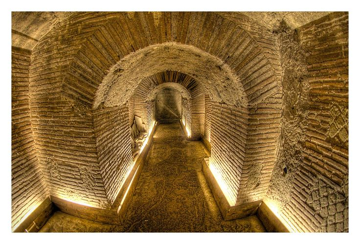 The greco-roman Naples underground, Italy.  Forty meters below the characteristic and lively streets of the Historic Center of Naples, you find a different world, unexplored, isolated by time, but deeply connected with the world above...