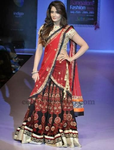 Embroidered Chiffon Half Sari in Black   Saree Blouse Patterns