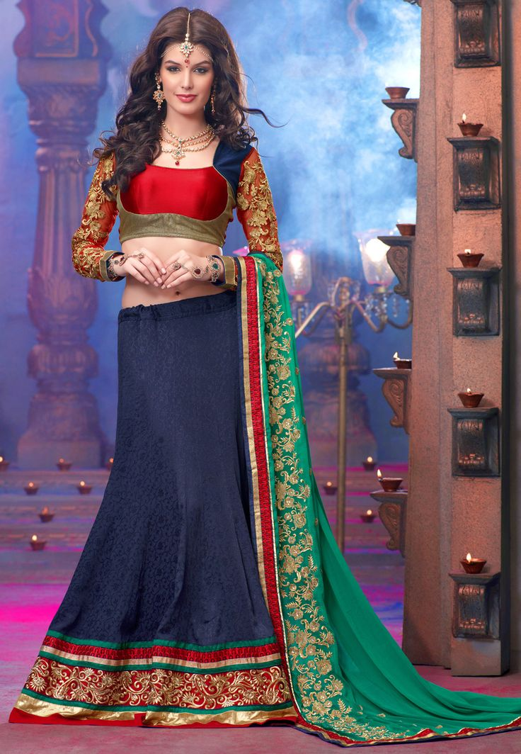 Georgette Chaniya Choli..Nevy blue, Red and Bottle Green..full ...