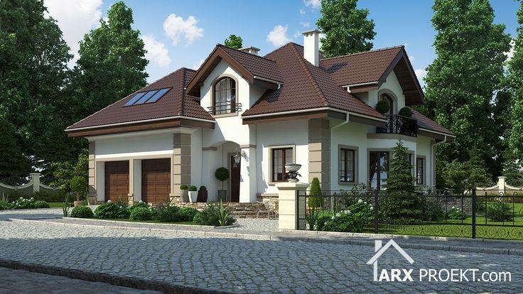 Проект будинку з житловою мансардою, двома гаражами та терасою
