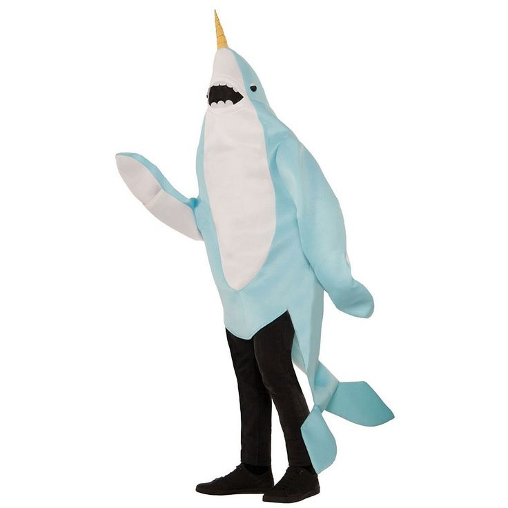 Plus Size Adult Plush Narwhal Mascot Costume, Adult Unisex, Multicolor