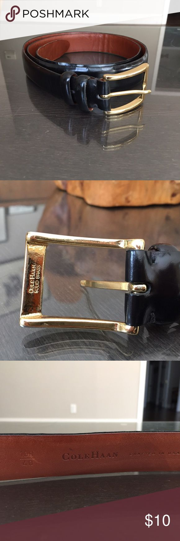 Cole Haan 2 tone leather belt Really professional and classy 2 tone leather belt by Cole Haan.  In great condition except for the most use part of the belt is starting to separate (see picture) but still have a lot of life to it. Cole Haan Accessories Belts
