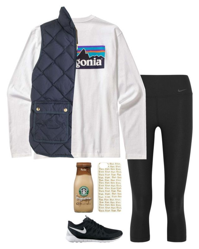 """road trip"" by helenhudson1 ❤ liked on Polyvore featuring NIKE, Patagonia and J.Crew"