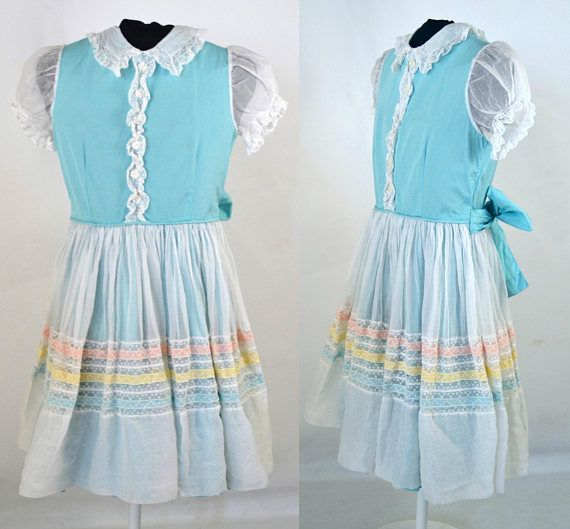 1960s Girls White and Robins Egg Blue Dress by Celeste New
