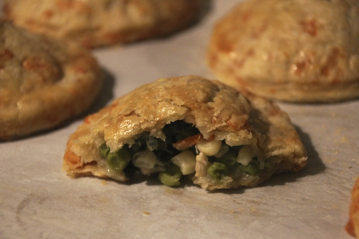 Chicken, Kale & Corn Hand Pies with Cheddar Cheese Crust
