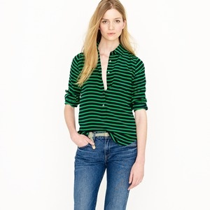 Navy and GreenStripes Crepes, Blouses, Colors Combos, Polly Popovers, J Crew, Crepes, Stripes Shirts, Kelly Green, Jcrew