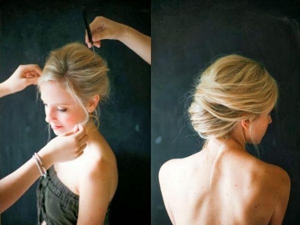 hochgestecktes Haar-Banane-Hochzeit-Frisurideen zum selbermachen