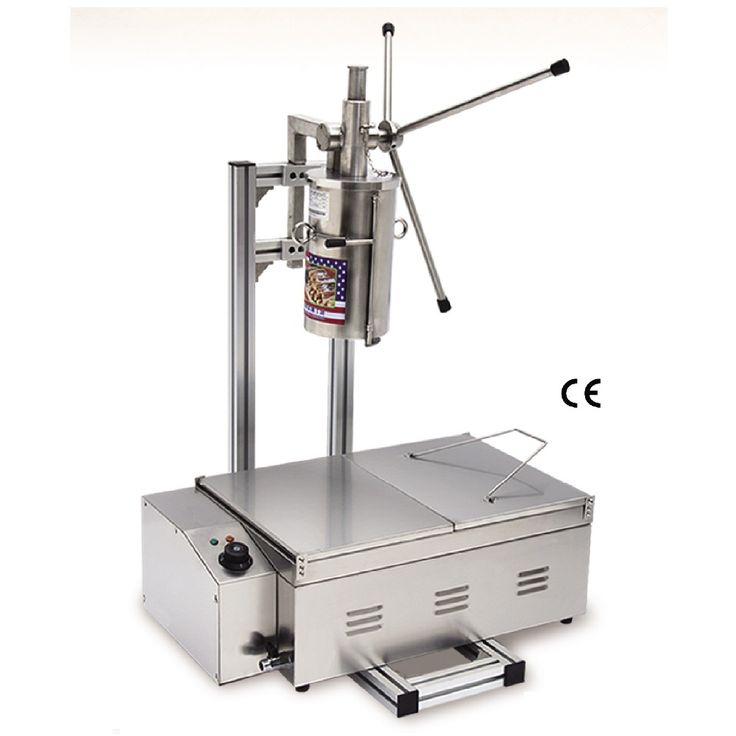 Commercial Stainless Steel Churro Machine + 25L Electric Fryer Manual Spanish Churros Maker 4 Nozzles