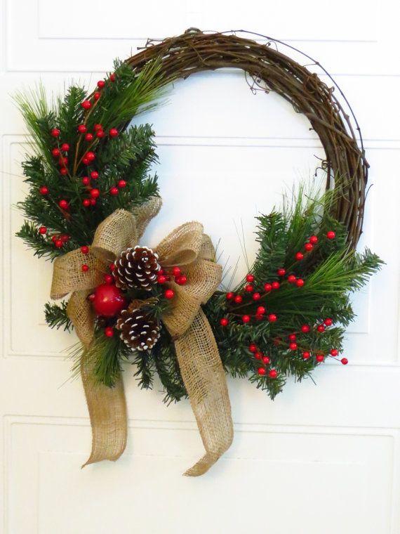 Christmas Wreath, Burlap Bow on Christmas Wreath, Rustic Christmas Wreath, Christmas Wreath For Door, Holiday Decor