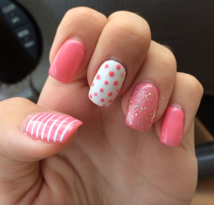 Summer nails 2014 gel pink polka dots sparkles stripes