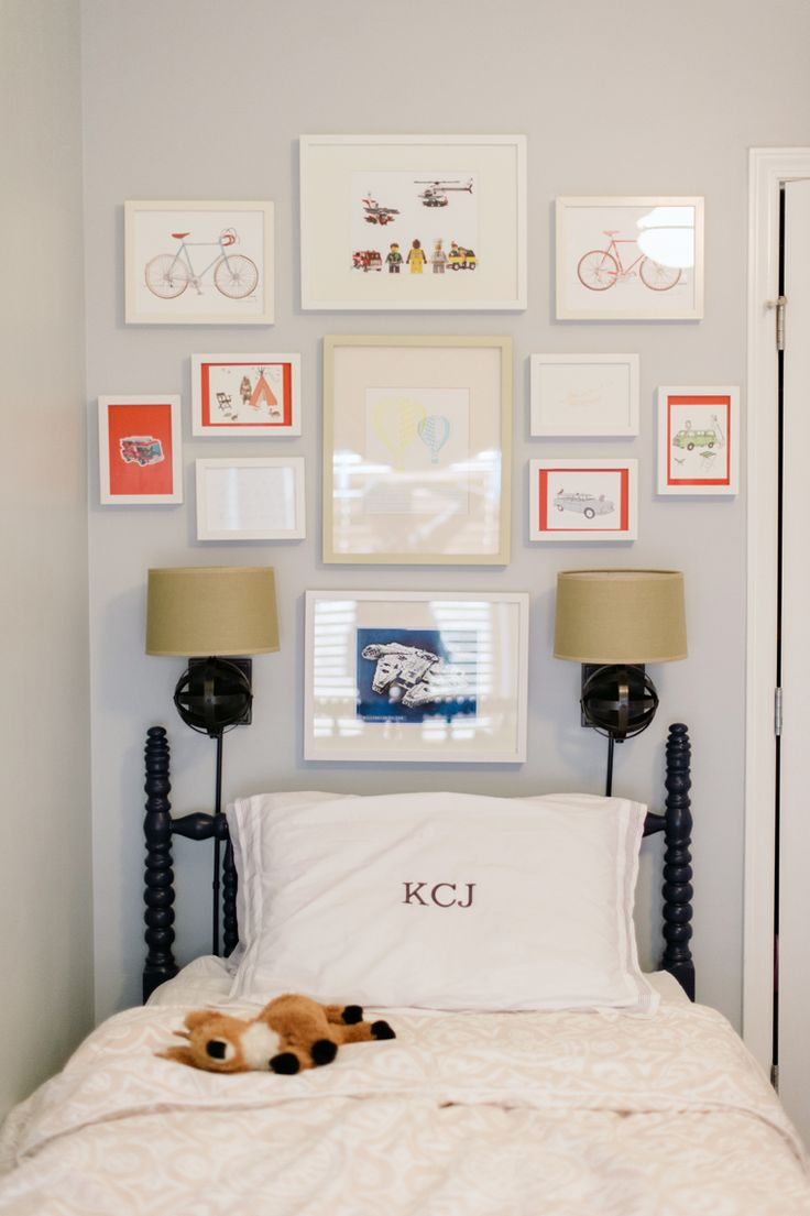 twin bed + monogram + gallery wall