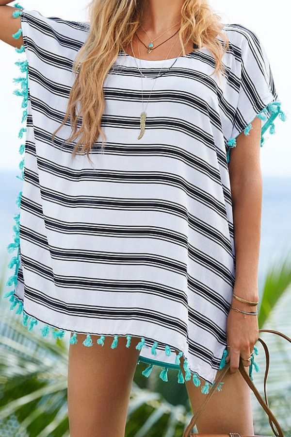 ZAFUL - stripe scoop neck cover up, navy with turquoise $25.21
