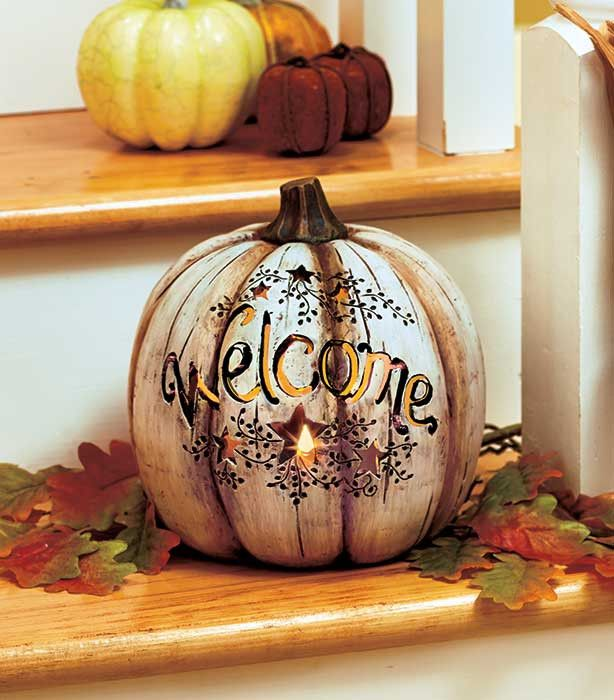 Greet your guests with this Country Lighted Welcome Pumpkin. It has 6 stars that accent the warm welcome, creating a rustic look. The LED light inside simulates real candlelight without the dangers of