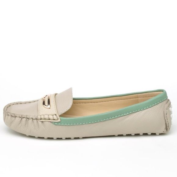 "Italian loafers; cream w/sea foam green trim Charly by Amar (Italian made)size 9.5 light grey/cream color, seafoam green leather trip accents around the loaferLight weight driving moc with contrasting trims and gold ""penny catcher"" on the vamp. Easy every day slip-on to wear with shorts, cropped skinnies or clam diggers. Fits true to size super soft leather, very cushioned sole.. Lovely to wear! I've worn these under 6 times, sorry the sticker wasn't easy to get off and it's still there…"