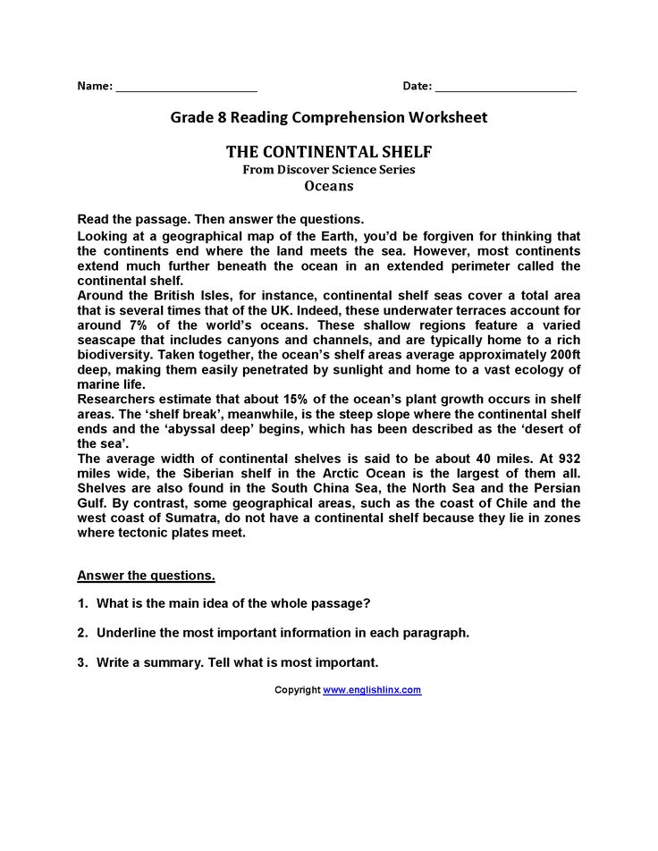 Continental Shelf Eighth Grade Reading Worksheets