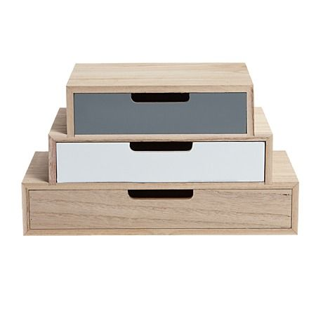 Scandi Wooden 3 Drawer Set 30cm x 15cm x 7cm - Giftware - Home Decor - Homewares - The Warehouse