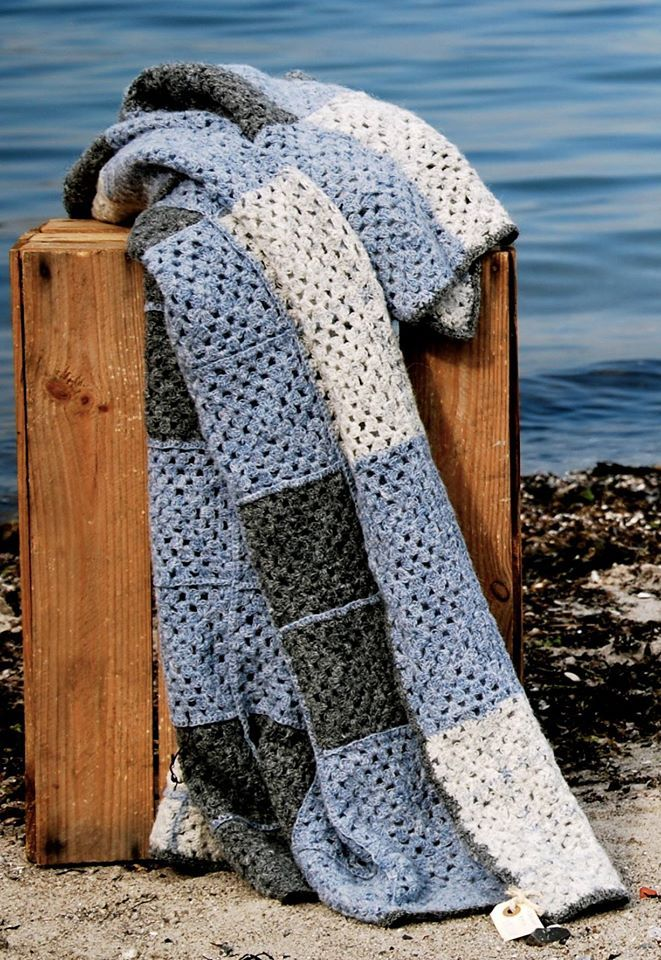Danish design by nor:den Danish Design. Crochet Blanket. Beautiful Squared pattern with bright colors