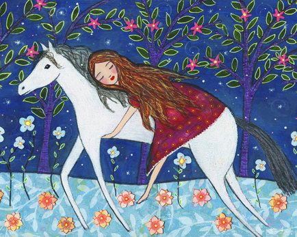 Folk Art Horse Art Print Large Nursery Art Print by Sascalia, $55.00