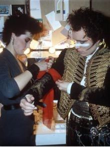 "Pre-""LA Law"" Amanda Donohoe helps Adam Ant prep for a gig, 1982. She was his girlfriend so I had to hate her.  #80s #music"