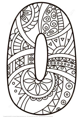 Numero Zentangle 0 Disegno da colorare