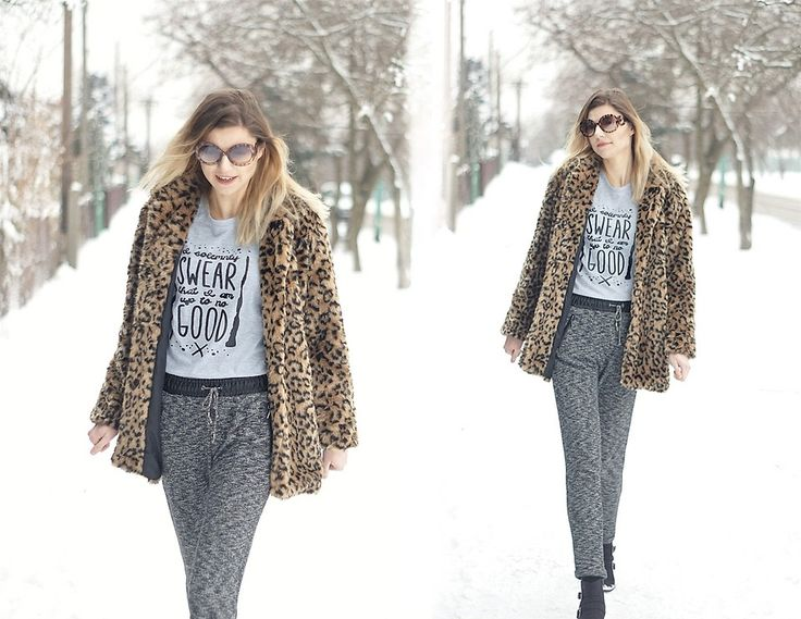 Kamila Z - Zara Fur, Zaful T Shirt, Reserved Pants, Amiclubwear Shoes - Leopard in snow | LOOKBOOK