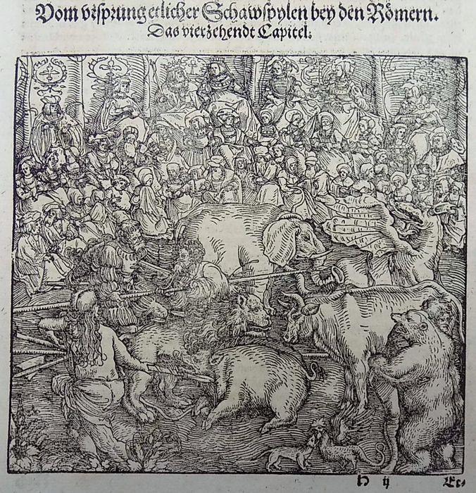 Master of Petrach [Hans Weiditz 1495-1537] - Bestiarium. Dierlijke strijd. Dragon olifant Leeuw Beer Boer - 1544  Originele houtsnede blad30 x 199Weiditz was niet alleen de meest veelzijdige maar de drukste van de illustratoren van zijn tijd... en een van de kleine groep van uitstaande houtsnede ontwerpers van de Duitse Renaissance met een sterk geïndividualiseerde stijl en een meest persoonlijke kijk op het leven.Meer dan om het even welk van zijn kameraden wist hij hoe te breken van de…