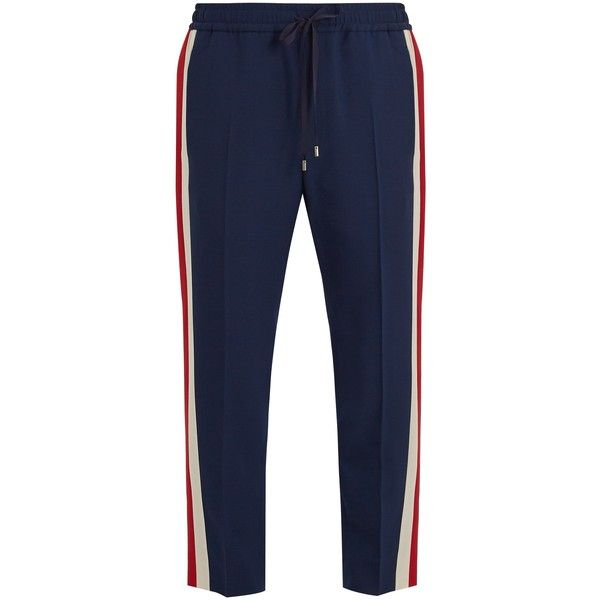 Gucci Side-stripe wool and mohair-blend trousers (13.179.040 IDR) ❤ liked on Polyvore featuring men's fashion, men's clothing, men's pants, men's casual pants, navy multi, old navy mens pants, mens slim pants, mens slim fit pants, mens navy blue pants and mens wool pants