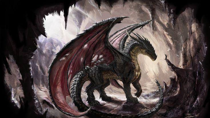 Download Wallpaper 1366x768 Dragon, Cave, Light, Art