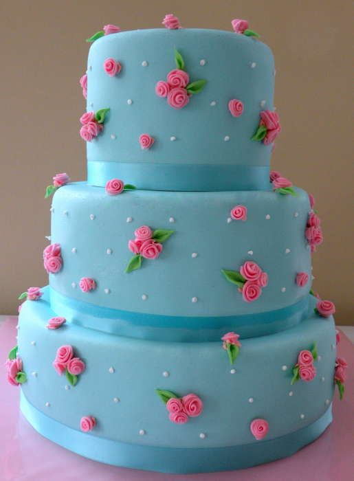Blue and Pink Rose Cake. Baby Shower cake.