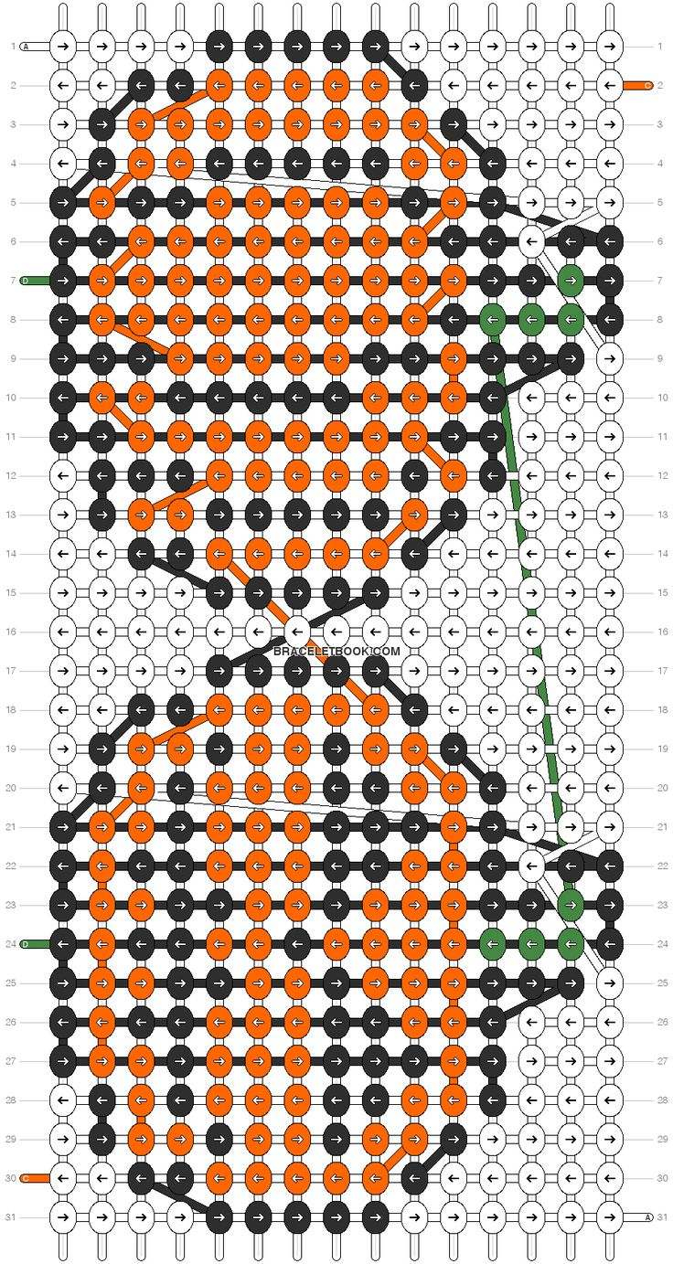 Pumpkin friendship bracelet pattern number 2138 - For more halloween patterns visit our web or the app!