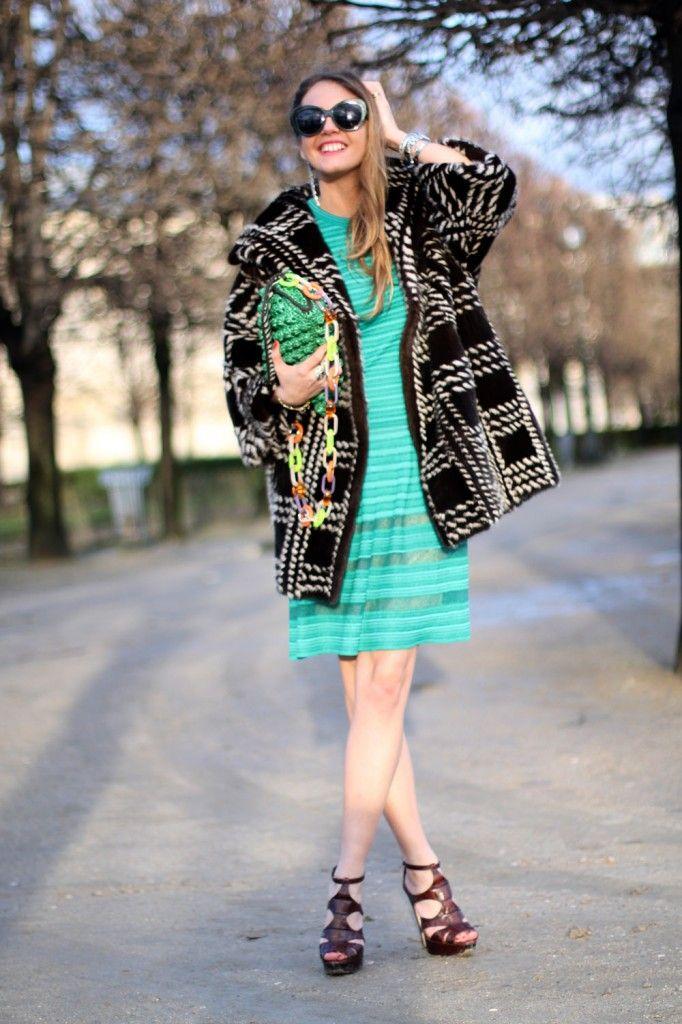 #MMissoni | Turquoise Knit Dress & Green Raffia effect Bag #musthave #itbag | @Virginia Kraljevic Varinelli Paris Paris fashion week street style