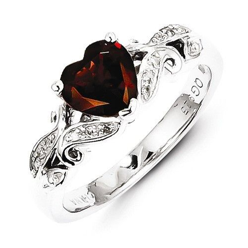 Sterling Silver Diamond And Garnet Heart Ring , - Sparkle & Jade - 1