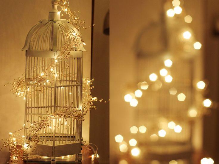 vogelkäfig deko weihnachten eckig weiss lichterkette #weihnachtsdeko #christmasdecoration