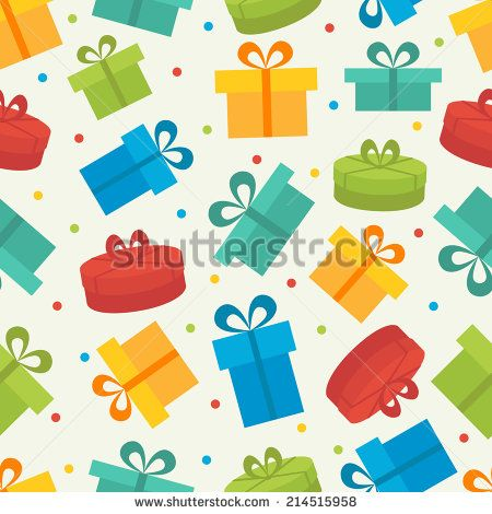 Seamless vector pattern with gift boxes - stock vector