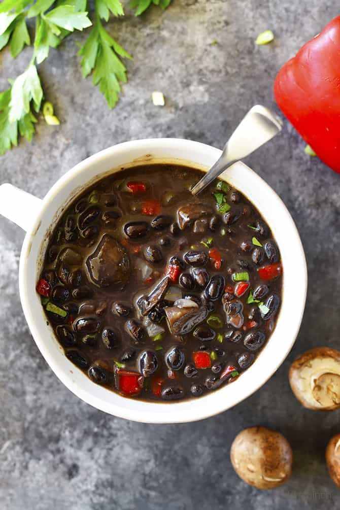 Red Pepper Mushroom Black Bean Soup Recipe – This quick and easy black bean soup recipe comes together in a snap for a vegetarian soup recipe that even meat lovers with adore! Happy Halloween, friends! Do you have big plans for today? It is always fun to see what the little ones dress up as...