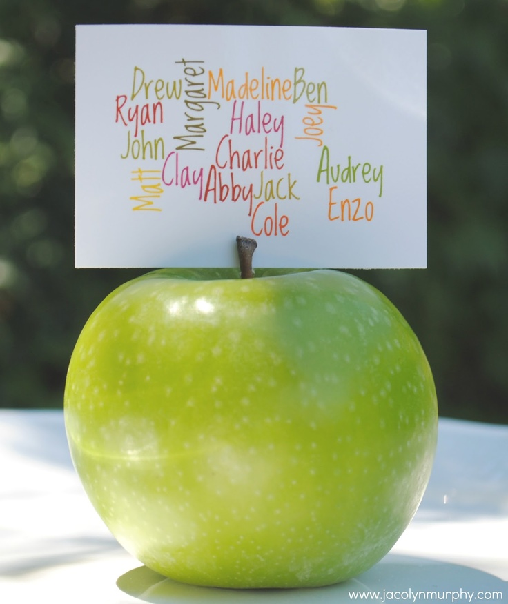 Family Reunion Favors: names of descendants on fruit...the apple doesn't fall far from the tree concept