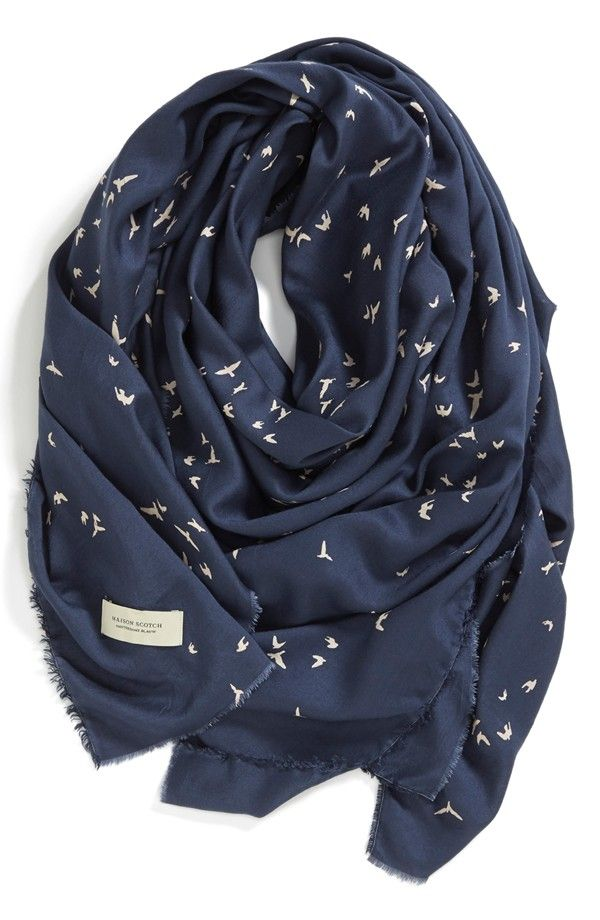 Bird Print Square Scarf /