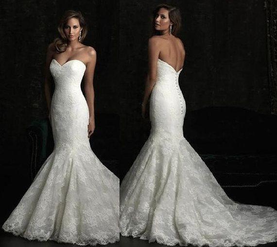 New Lace mermaid wedding dress white ivory wedding by MALLECNDRESS, $169.00
