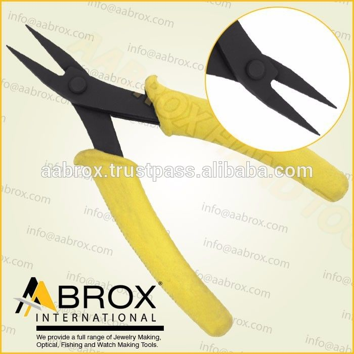 Model Number: AI-JP-1099, Round Nose pliers Economy Slim Line, Lap Joint. Black Oxide Finish. 14 cm  Ergonomic handle with Spring. Available Colors: Black. TealBlue. Yellow or Red handles. These RoundNose pliers Economy Slim Line is best for Jewelry Making, Wire Work Artist Suitable for Closing Small Sizes Rings, Bows, Wire Forming and other fine Hobby Work.