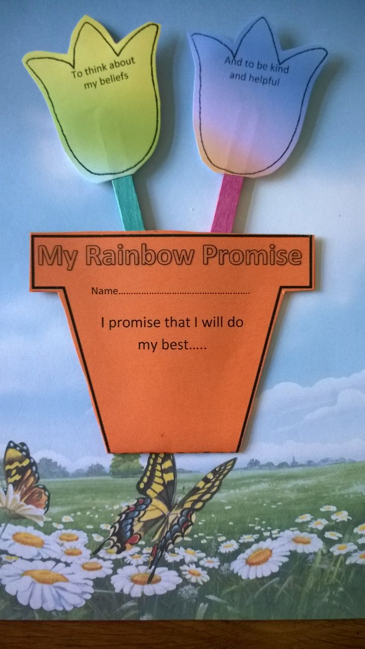 Rainbow Promise Flower Pot Craft - great as Ladybird promise craft