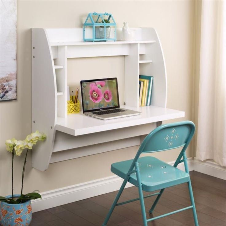 lowest price online on all prepac floating computer desk with storage in white wehw - Desks Ideas