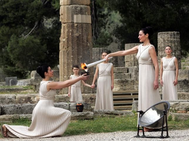 High priestess lit the flame in Ancient Olympia!