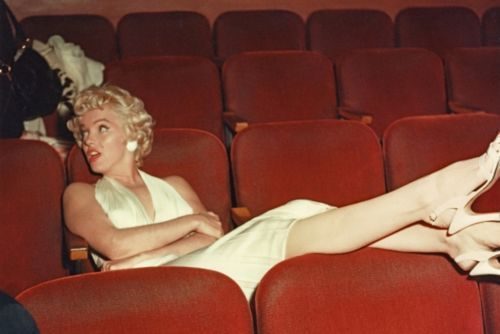 Marilyn Monroe rare studio screening room shot 1954 (Norma Jeane Mortenson Baker