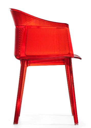 nice Midcentury Modern Zuo Set of 4 Allsorts Stacking Outdoor Dining Chairs, Transparent Red