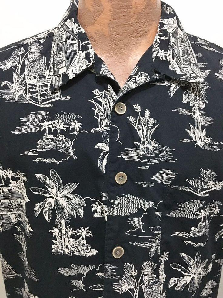 OP Sport L Hawaiian Black Short-Sleeve Cotton Shirt Tropical House Rocking Chair #OPSport #Hawaiian