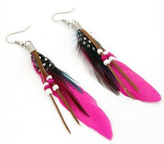 Shopo.in : Buy Vibrant Pink Feather Earring online at best price in Kolkata, India