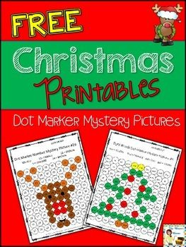 FREE Christmas dot marker mystery picture pages - sight words and numbers