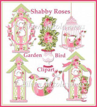 Shabby Roses Bird Garden Png Amp Jpg Clipart 163 1 67 Instant